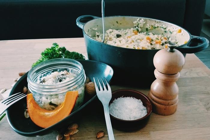 Le risotto de l'automne au potiron et aux châtaignes